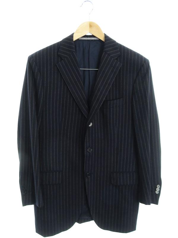 【Cantarelli】【イタリア製】【上下セット】カンタレリ『ストライプ柄スーツ size上48/下46』32 220121 メンズ セットアップ 1週間保証【中古】