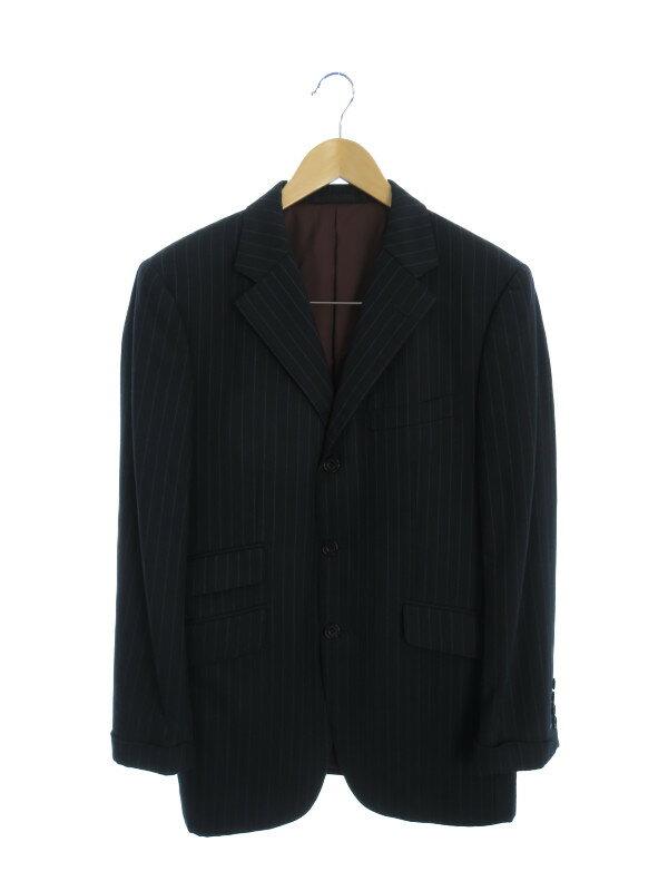 【BURBERRY BLACK LABEL】【日本製】【TASMANIA WOOL】【Super110'】バーバリーブラックレーベル『ストライプ柄スーツ size38L』BMD33-106-29 メンズ 【中古】