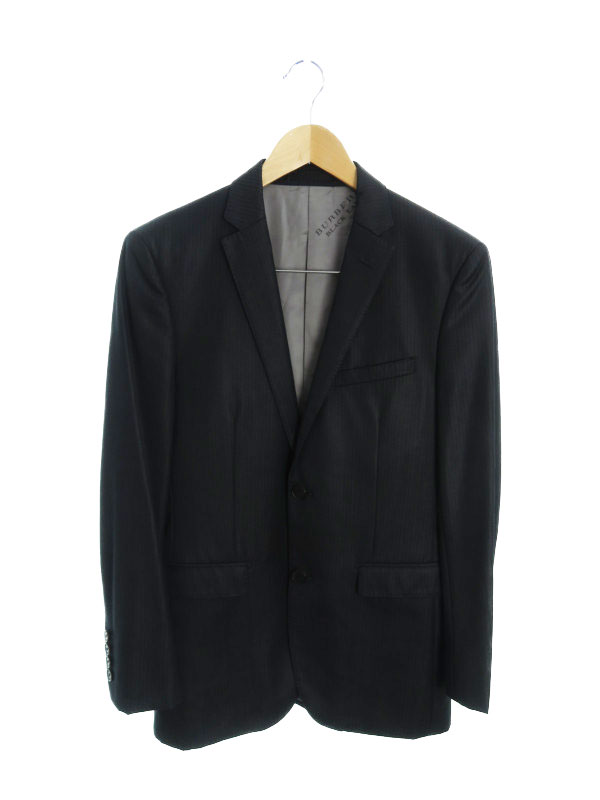 【BURBERRY BLACKLABEL】【日本製】バーバリーブラックレーベル『ベスト付ストライプ柄スーツ上下セット size38R』D1H06-612-09メンズ1週間保証【中古】