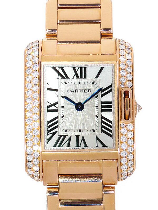 【Cartier】【電池交換・仕上済】カルティエ『タンクアングレーズSM ベゼルダイヤ』WT100002 レディース クォーツ 6ヶ月保証【中古】