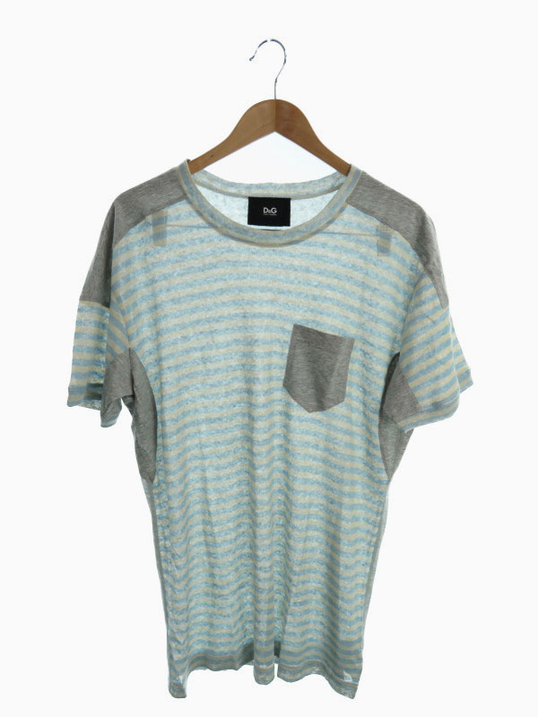 【D&G】【トップス】【イタリア製】ディーアンドジー『ボーダー柄切替半袖カットソー size50』RTC730/SCT64 メンズ Tシャツ 1週間保証【中古】