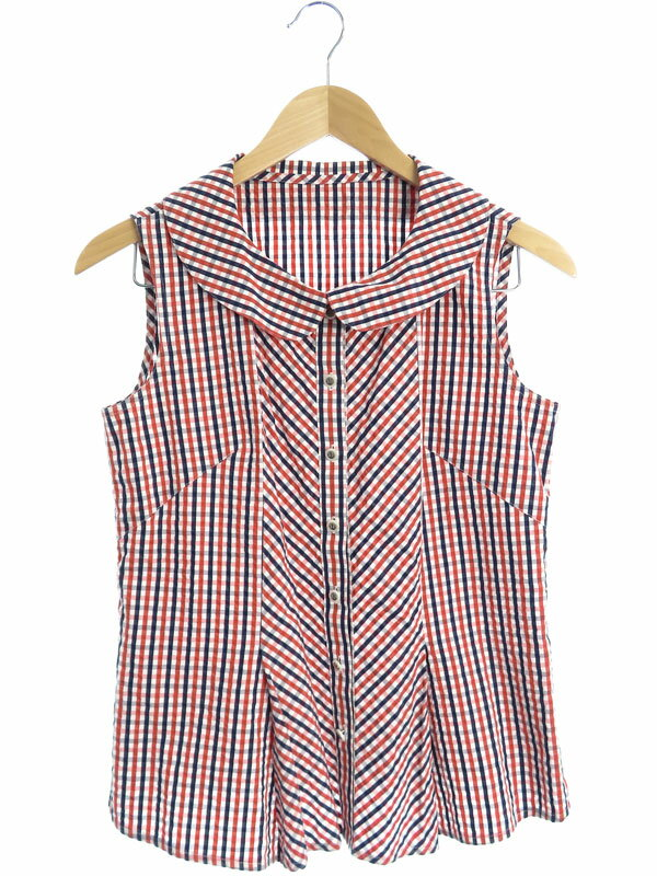 【Rene】【TISSUE】【日本製】【トップス】ルネ『チェック柄 ノースリーブシャツ size36』6021040 レディース 1週間保証【中古】