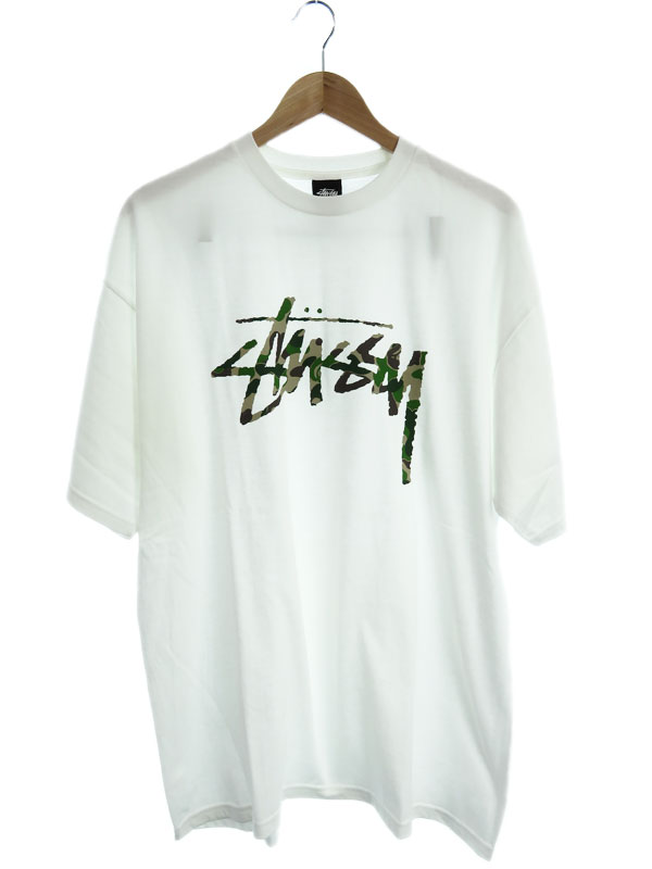 【STUSSY】【BAPE限定ストックカモTシャツ】【STUSSY30周年記念】【トップス】ステューシー『半袖Tシャツ sizeXL』メンズ カットソー 1週間保証【中古】