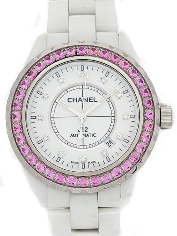 【CHANEL】シャネル『J12 ホワイトセラミック 12Pダイヤ&ピンクサファイアベゼル』H2011 メンズ 自動巻き 6ヶ月保証【中古】