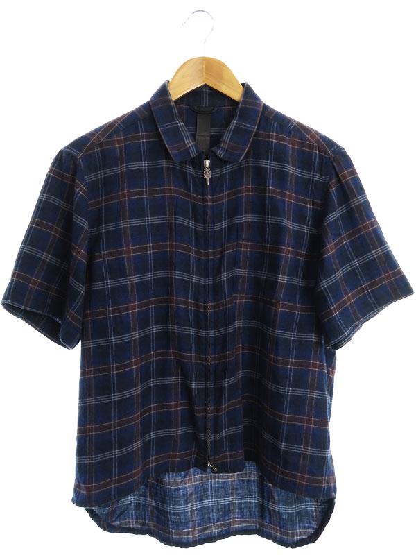 【CHROME HEARTS】【アメリカ製】【トップス】クロムハーツ『チェック柄 半袖ジップシャツ sizeSMALL』2211-304-5805 メンズ 1週間保証【中古】