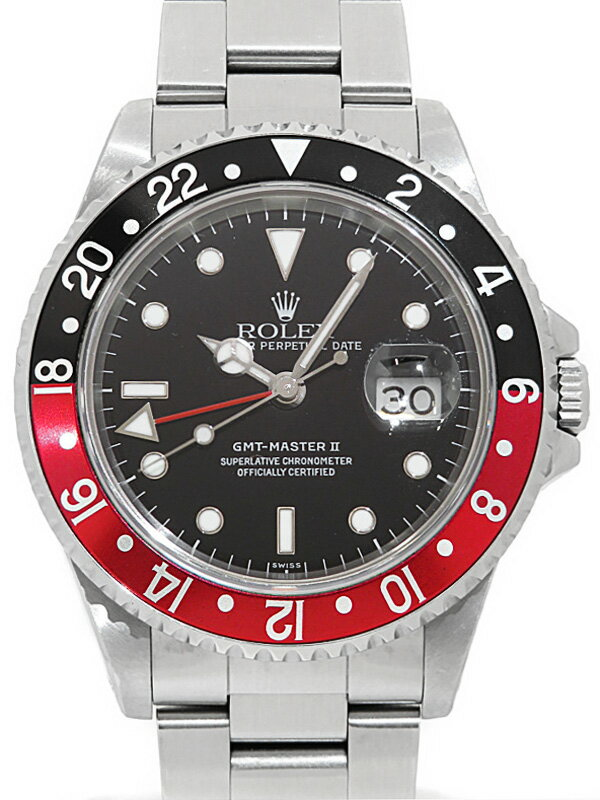 【ROLEX】【内部点検済】ロレックス『GMTマスター2 赤×黒ベゼル』16710 U番'97年頃製 メンズ 自動巻き 12ヶ月保証【中古】