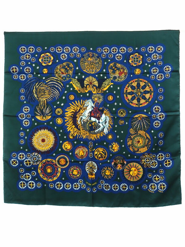 【HERMES】【LE ROY SOLEIL】【フランス製】エルメス『カレ90 太陽王』レディース スカーフ 1週間保証【中古】