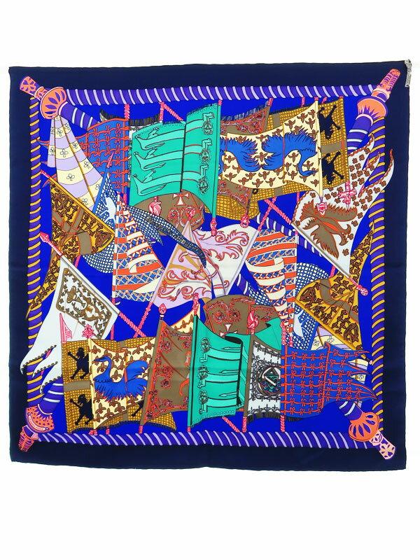 【HERMES】【Etendards et Bonnieres】【フランス製】エルメス『カレ90 旗柄』レディース スカーフ 1週間保証【中古】