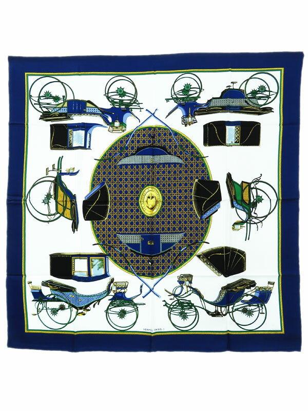 【HERMES】【LES VOITURES A TRANSFORMATION】エルメス『カレ90 折りたたみ式幌の馬車』レディース スカーフ 1週間保証【中古】