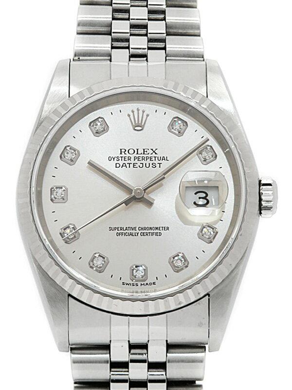 【ROLEX】【内部点検済】ロレックス『デイトジャスト 10Pダイヤ』16234G P番'00年頃製 メンズ 自動巻き 12ヶ月保証【中古】