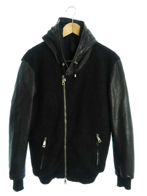 【MUSHER】【フードボアジャケット】【イタリア製】【アウター】マーシャー『レザー切替ジャケット sizeS』MMU17A4052 メンズ 1週間保証【中古】
