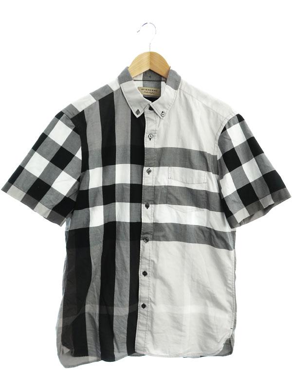 【BURBERRY】【トップス】バーバリー『チェック柄 半袖ボタンダウンシャツ sizeL G』THTHAGAR129SAM メンズ 1週間保証【中古】