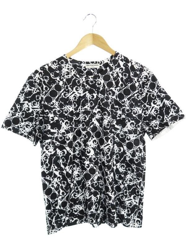 【BALENCIAGA】【ポルトガル製】【トップス】バレンシアガ『総柄半袖Tシャツ sizeM』372635 TMK37 2014 メンズ カットソー 1週間保証【中古】
