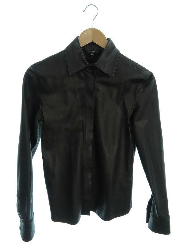【GUCCI】【イタリア製】【トップス】グッチ『長袖レザーシャツ size38』239-2369-7562 レディース 1週間保証【中古】