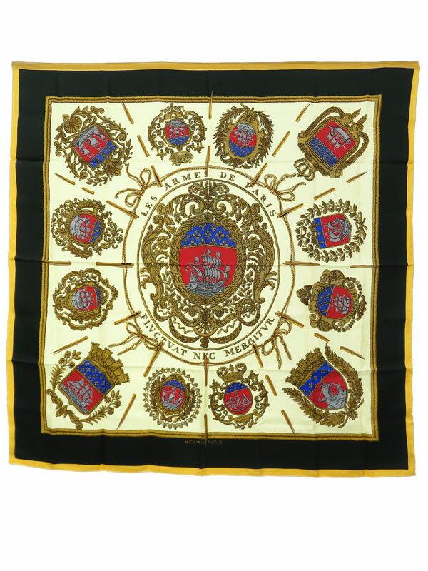 【HERMES】【LES ARMES DE PARIS】【フランス製】エルメス『カレ90 パリの紋章』レディース スカーフ 1週間保証【中古】
