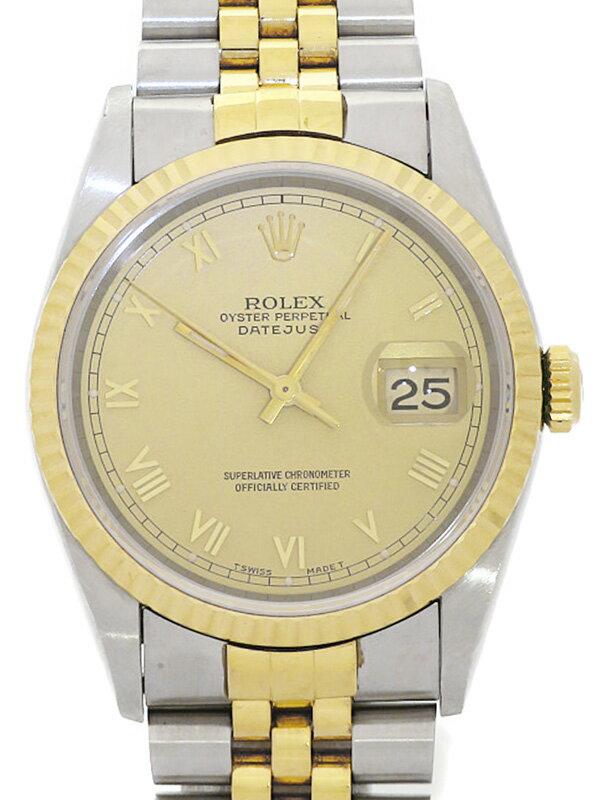 【ROLEX】【ゴールドローマン】ロレックス『デイトジャスト』16233 W番'95年頃製 メンズ 自動巻き 12ヶ月保証【中古】