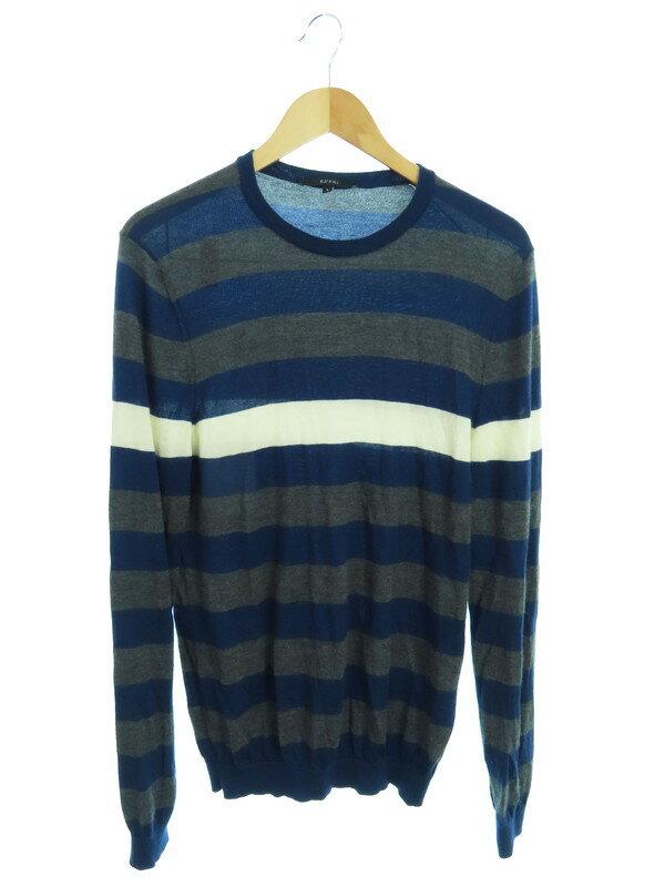 【GUCCI】【イタリア製】グッチ『ボーダー柄長袖カシミヤニット sizeL』メンズ セーター 1週間保証【中古】