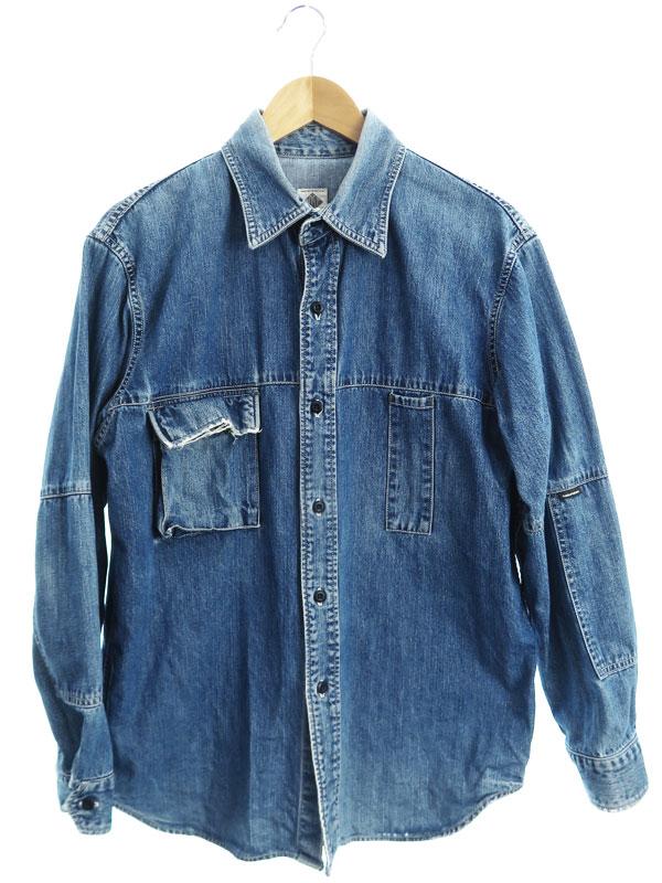 【POST O'ALLS】【日本製】【トップス】ポストオーバーオールズ『デニムシャツ sizeSMALL』メンズ 1週間保証【中古】