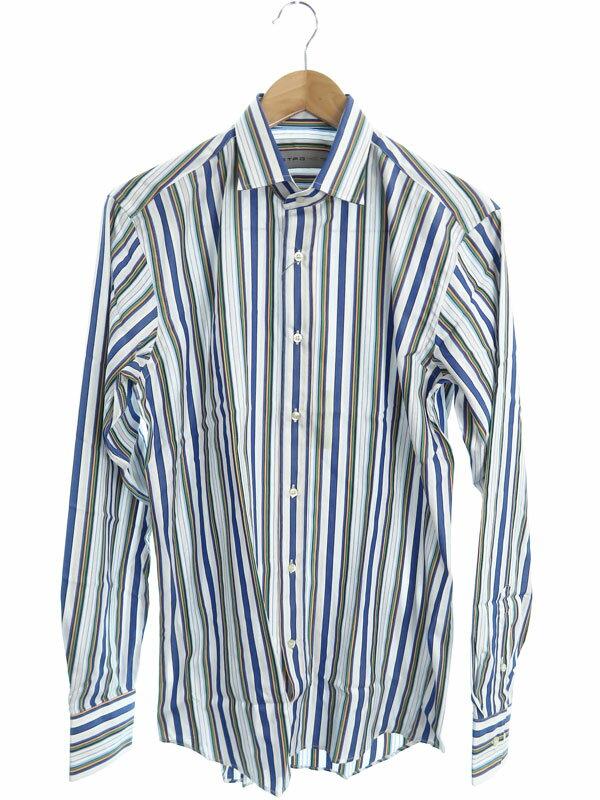 【ETRO】【イタリア製】【トップス】エトロ『ストライプ柄 長袖シャツ size40』メンズ 1週間保証【中古】