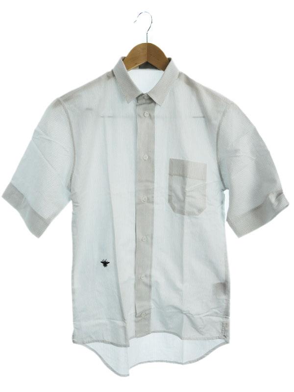 【Dior Homme】【イタリア製】【トップス】ディオールオム『ストライプ柄 半袖シャツ size38』4EH1051230 メンズ 1週間保証【中古】
