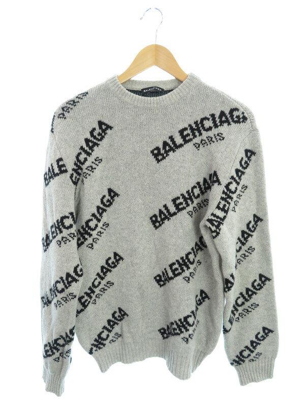 【BALENCIAGA】【ジャカードロゴニット】【イタリア製】【トップス】バレンシアガ『長袖ニット sizeS』507287 T1442 17AW メンズ セーター 1週間保証【中古】