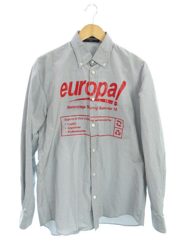 【BALENCIAGA】【europal】【ルーマニア製】【トップス】バレンシアガ『チェック柄長袖ボタンダウンシャツ size37』509539 TYD09 18AW メンズ 1週間保証【中古】