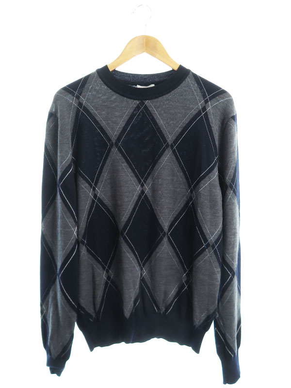 【Dior Homme】【イタリア製】【トップス】ディオールオム『アーガイル柄 長袖ニット sizeM』663M657ZT618 メンズ セーター 1週間保証【中古】