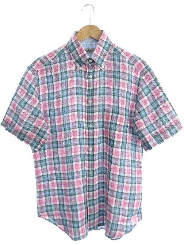 【Brioni】【イタリア製】【トップス】ブリオーニ『リネン チェック柄半袖ボタンダウンシャツ sizeM』メンズ 1週間保証【中古】