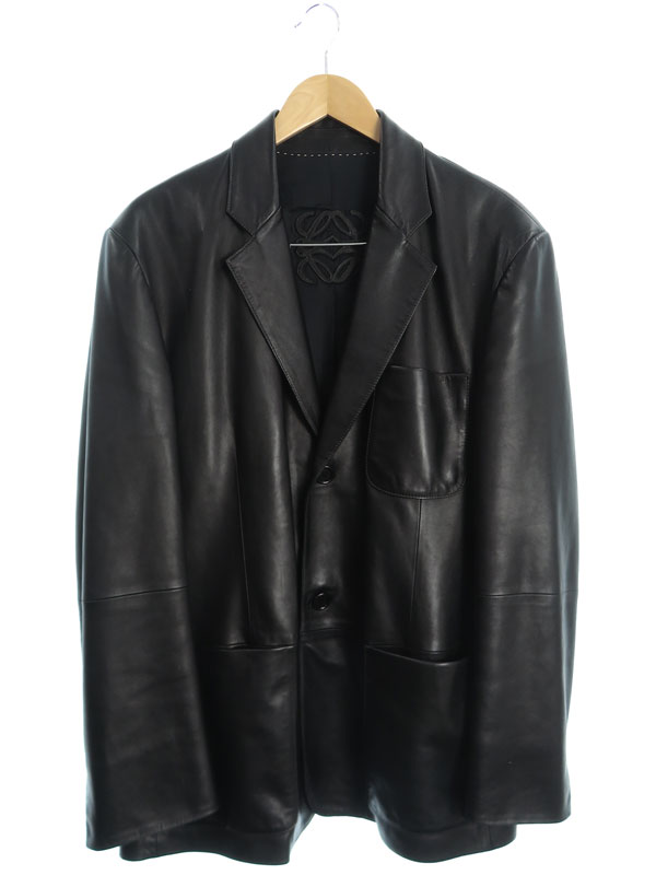 【LOEWE】【スペイン製】【アウター】ロエベ『レザーテーラードジャケット size54』メンズ 1週間保証【中古】