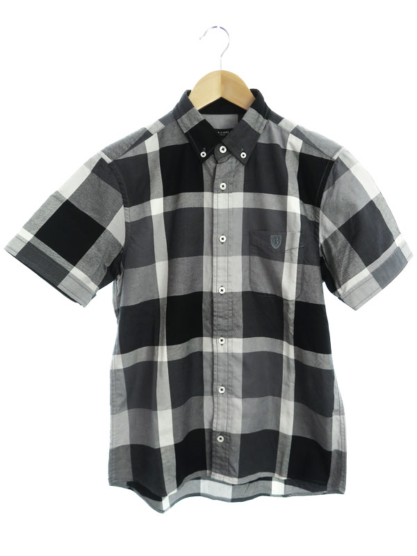 【BLACK LABEL CRESTBRIDGE】ブラックレーベルクレストブリッジ『チェック柄 半袖ボタンダウンシャツ size2』51M38-309-06 メンズ 1週間保証【中古】