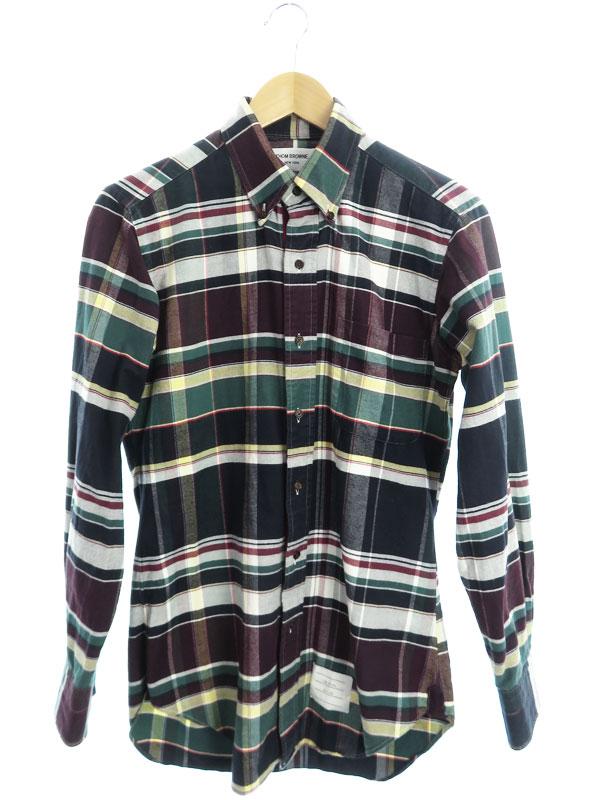 【THOM BROWNE】【アメリカ製】【トップス】トムブラウン『チェック柄 長袖ボタンダウンシャツ size0』A0143A42170 メンズ 1週間保証【中古】