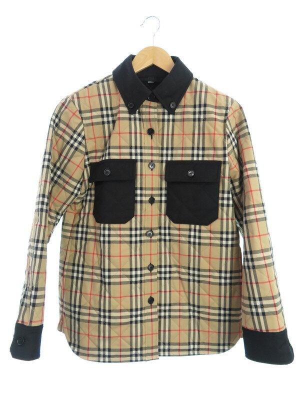 【BURBERRY】【Embroidered Wool Jacket】【アウター】バーバリー『チェック柄中綿ジャケット sizeS P』8020383 レディース 1週間保証【中古】