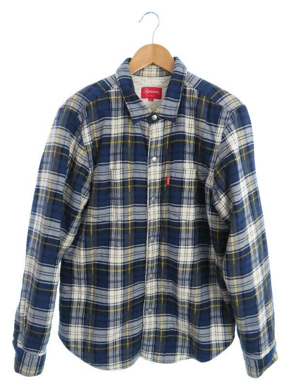 【SUPREME】【Flannel Sherpa Shirt】シュプリーム『チェック柄裏起毛 長袖シャツ sizeM』15FW メンズ 1週間保証【中古】