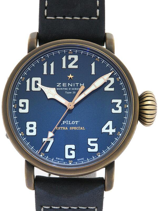 【ZENITH】【'19年購入】ゼニス『パイロット タイプ20 エクストラ スペシャルブルー』29.2430.679/57.C808 メンズ 自動巻き 6ヶ月保証【中古】