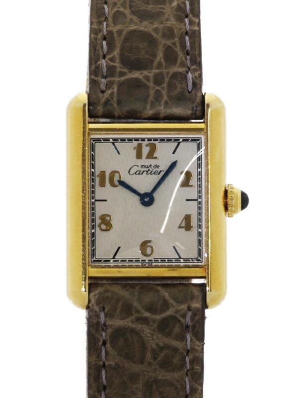 【Cartier】【電池交換済】カルティエ『マストタンク ヴェルメイユ SM』レディース クォーツ 1ヶ月保証【中古】