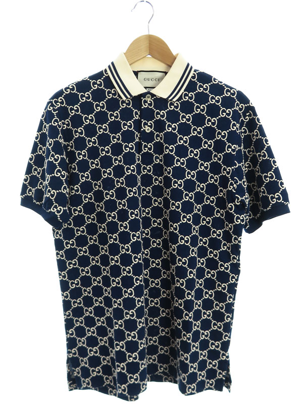 【GUCCI】【GGトレッチコットンポロ】【イタリア製】【トップス】グッチ『半袖ポロシャツ sizeM』598956-XJB0U メンズ 1週間保証【中古】