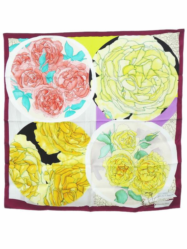 【Christian Dior】【花】【イタリア製】クリスチャンディオール『シルクスカーフ』44RMD090INST レディース 1週間保証【中古】