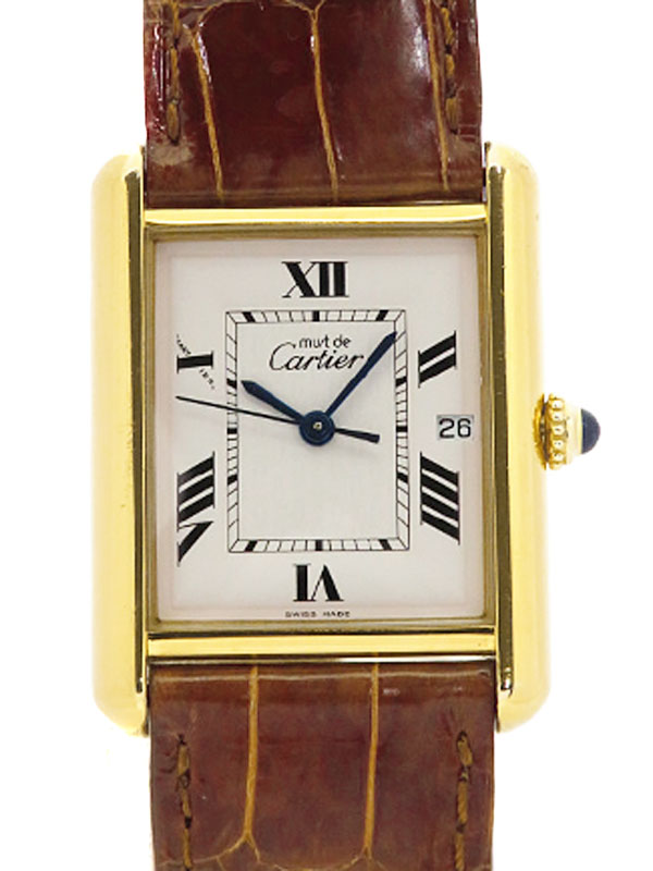 【Cartier】【電池交換済】カルティエ『マストタンク ヴェルメイユ デイト』2413 ボーイズ クォーツ 3ヶ月保証【中古】