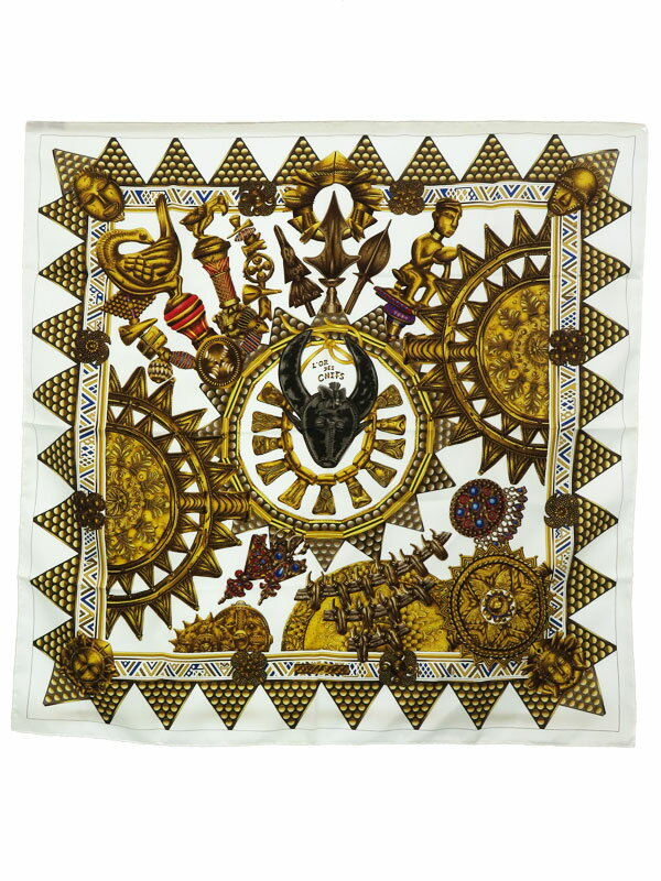 【HERMES】【L'OR DES CHEFS】【フランス製】エルメス『カレ90 首長達の金』レディース スカーフ 1週間保証【中古】