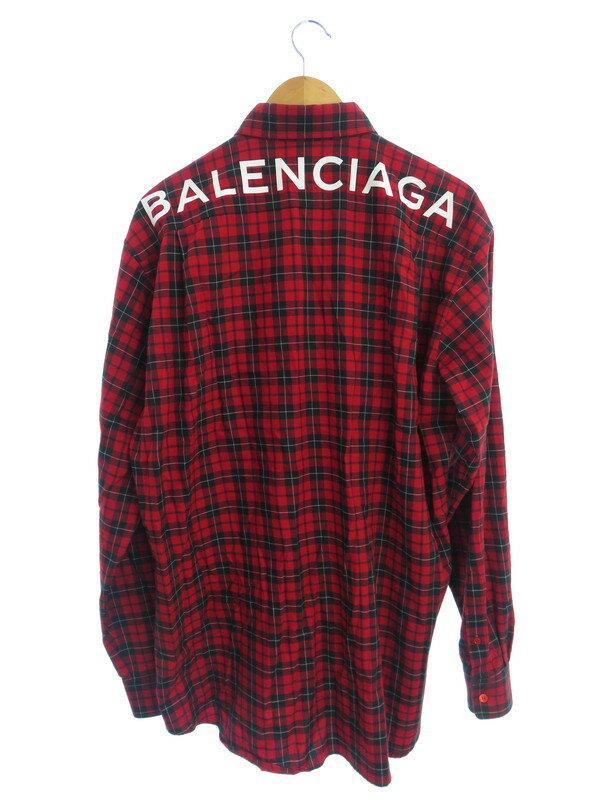 【BALENCIAGA】【バックロゴプリント】【ルーマニア製】バレンシアガ『チェック柄長袖ボタンダウンシャツ size38』50865 TYB16 18SS メンズ 1週間保証【中古】