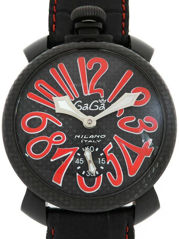 【GaGa MILANO】【裏スケ】ガガミラノ『マヌアーレ 48mm』5016.8 メンズ 手巻き 1週間保証【中古】