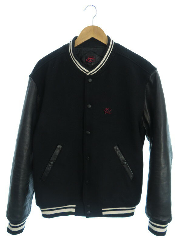 【R.J.B】【CLIPPERS】【日本製】アールジェイビー『レザー切替中綿スタジャン size42』メンズ ジャケット 1週間保証【中古】