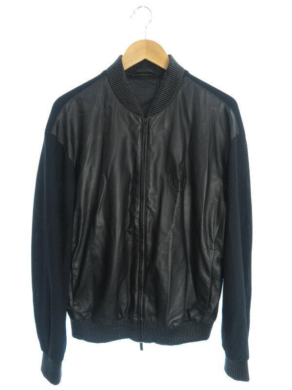 【Giorgio Armani】【黒タグ】【アウター】ジョルジオアルマーニ『レザー切替ジャケット size48』ASR85P ASP86 メンズ ブルゾン 1週間保証【中古】