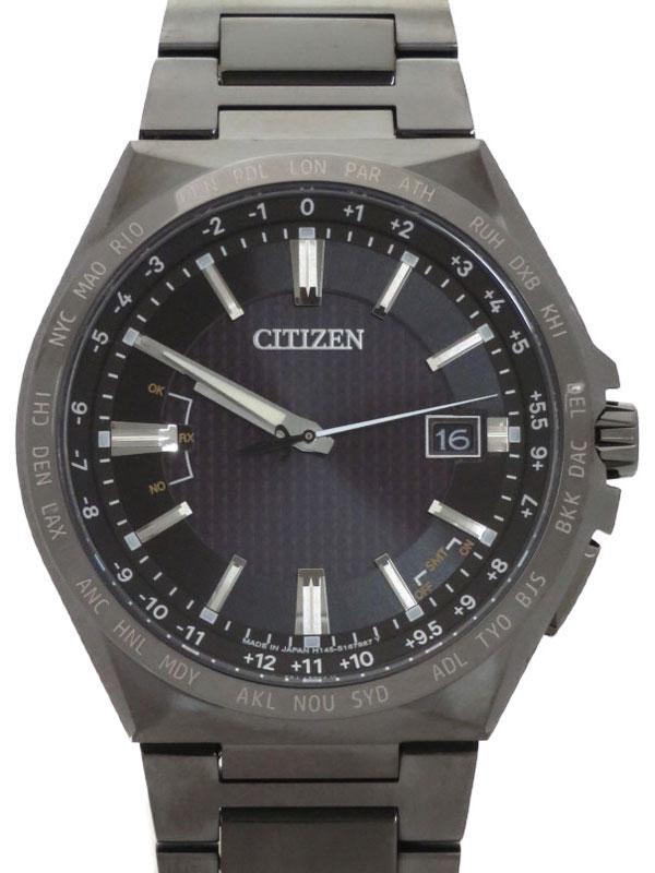 【CITIZEN】【'21年購入】シチズン『アテッサ ACTライン ブラックチタンシリーズ』CB0215-51E メンズ ソーラー電波クォーツ 1ヶ月保証【中古】