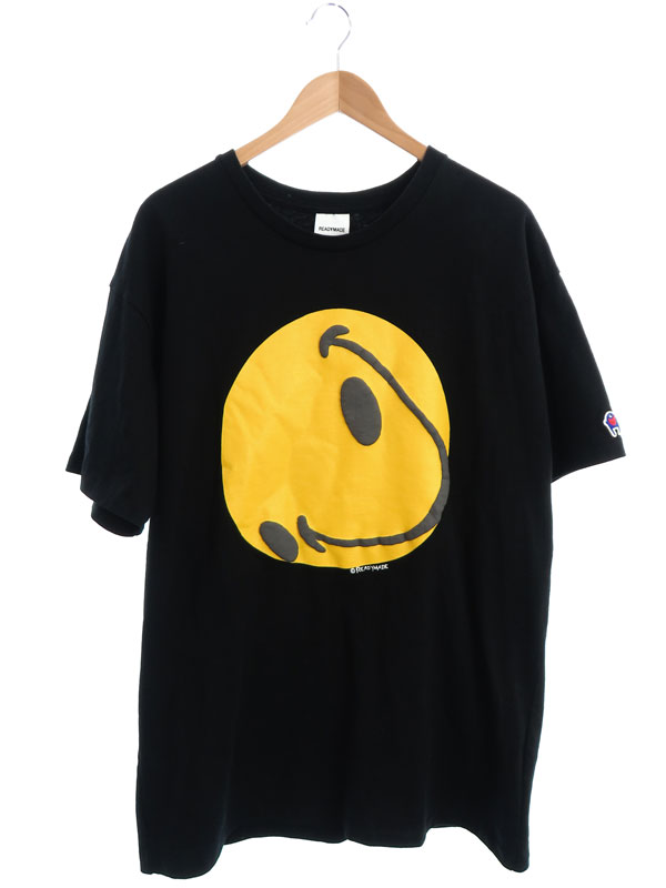 【READYMADE】【TEE COLLAPSED FACE】【日本製】【トップス】レディーメイド『半袖Tシャツ sizeXL』RE-CO-BK-00-00-143 メンズ カットソー 1週間保証【中古】