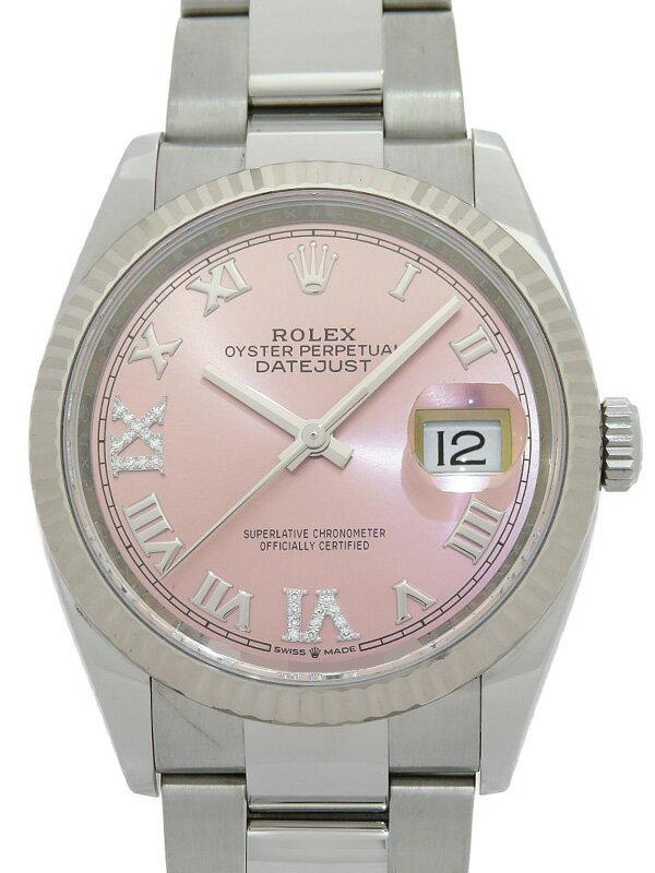 【ROLEX】【'21年購入】【ピンクローマン】【仕上済】ロレックス『デイトジャスト 36 VI&IXダイヤ』126234 ランダム番 メンズ 自動巻き 12ヶ月保証【中古】
