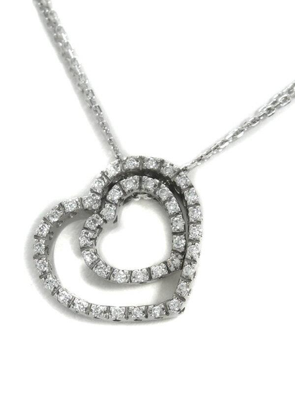 【Ponte Vecchio】【仕上済】ポンテヴェキオ『K18WGネックレス ダイヤモンド0.21ct ダブル ハートモチーフ』1週間保証【中古】