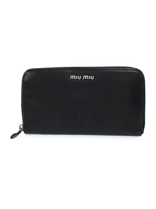 【MIU MIU】ミュウミュウ『ラウンドファスナー長財布』5M0506 レディース 1週間保証【中古】