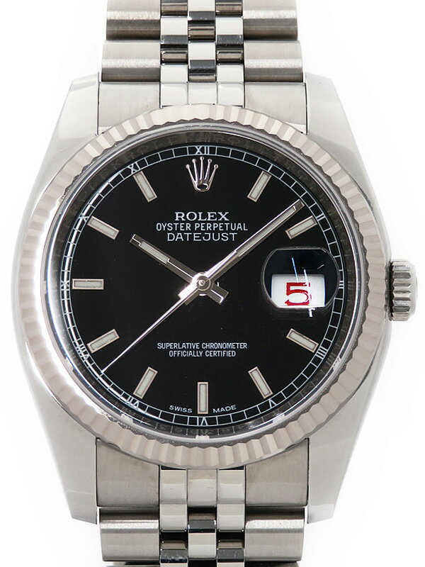 dfc32f50d4 ROLEX】ロレックス/デイトジャスト/116234/ブラックローマン/黒/ランダム ...
