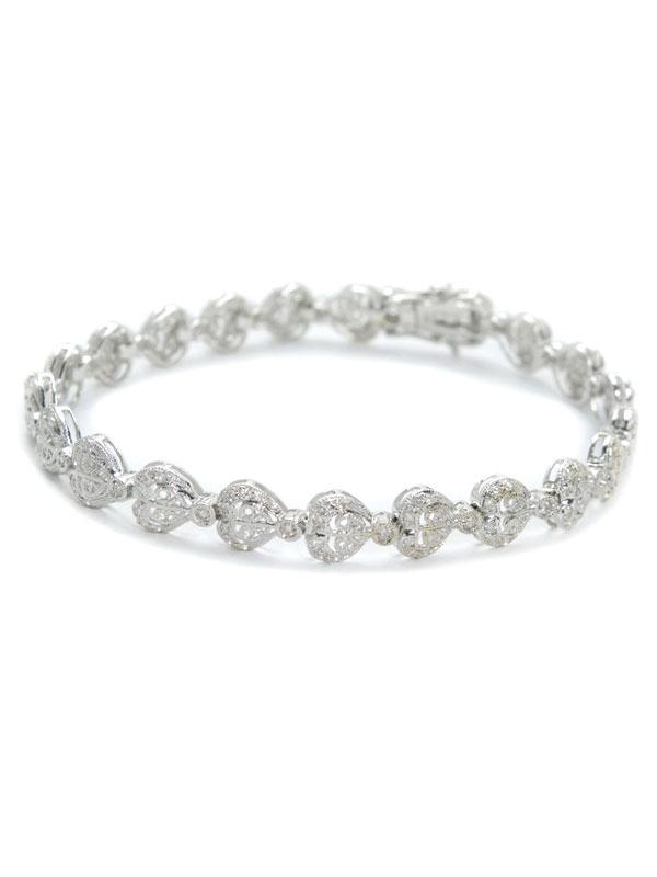 セレクトジュエリー『K18WGブレスレット ダイヤモンド0.80ct ハートモチーフ』1週間保証【中古】